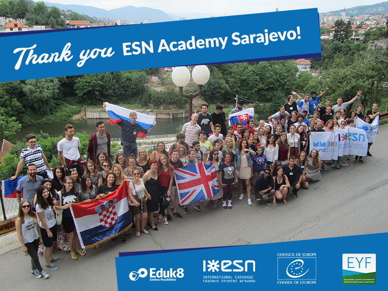 Thank you ESN Academy Sarajevo: Participants with their national flags