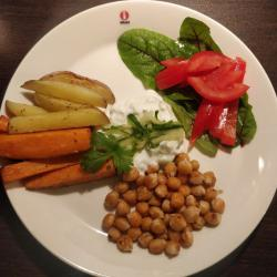 Plate with roasted vegetablels on the left, salad on the right, yogurt sauce in the center, and chickeas in the lower part of the plate